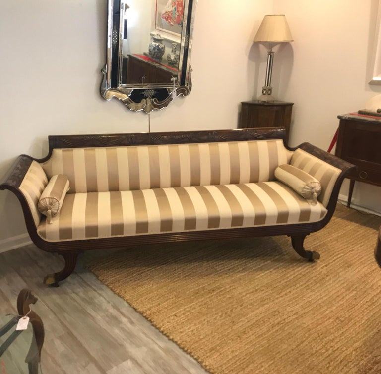 Duncan Phyfe Style Mahogany Sofa For Sale 6