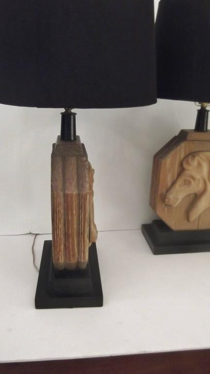 Carved Pair of Heifetz Table Lamps in Limed Oak For Sale