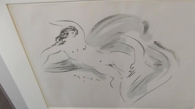Artist signed Reuben Nakian in black and gray tones of Leda and the Swan. Created around 1965 on paper in a simple off white matt, no frame. The Gouache is currently protected in a large clear vinyl sleeve and ready to frame. The art alone measures