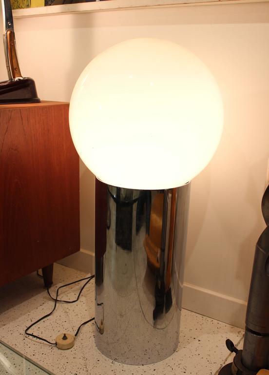 Sonneman Globe Lamp With Cylindrical Chrome Base For Sale