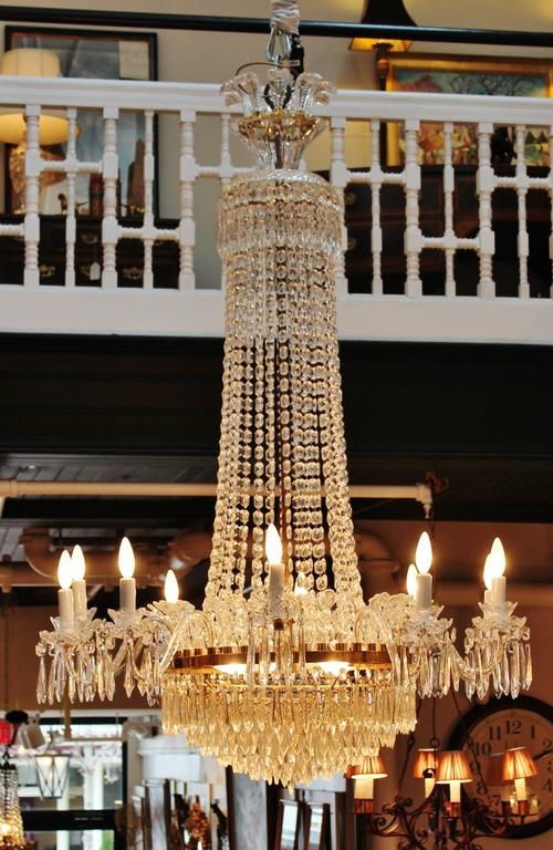 A massive custom waterford crystal chandelier for sale at 1stdibs a large marked waterford grand beaded and prismed ten arm chandelier ten lights with aloadofball Choice Image