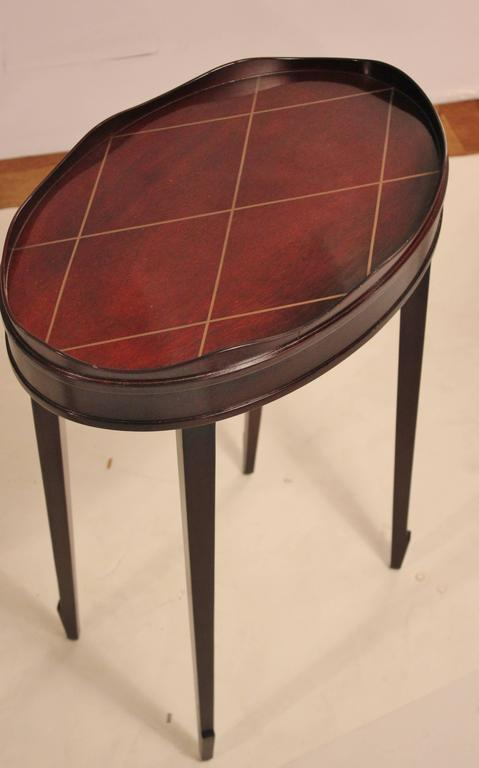 Lovely American Diminutive Barbara Barry Oval Gallery Edge Side Table For Sale