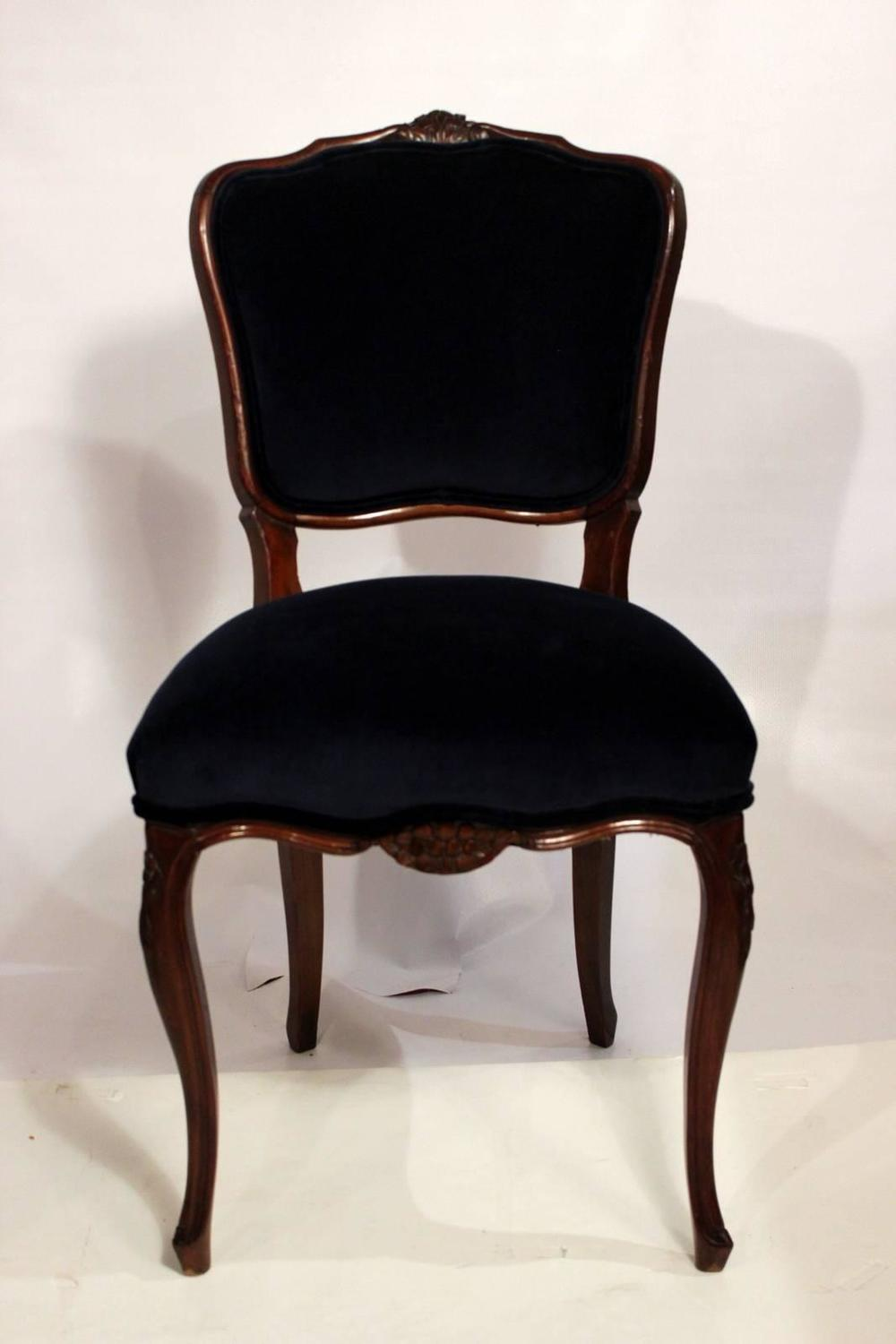 Six dining room chairs with navy velvet and damask fabric for Dining room velvet chairs