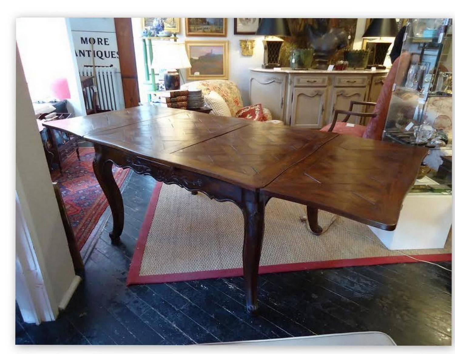 Antique Country French Carved Elmwood And Oak Extending Dining Table For Sale