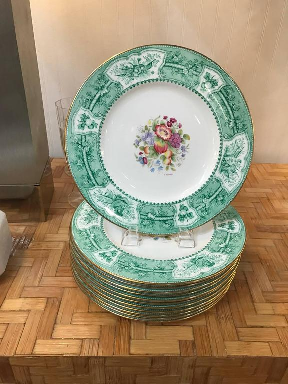 Set of 12 Wedgwood Hand-Painted Service Plates Artist Signed For Sale 3
