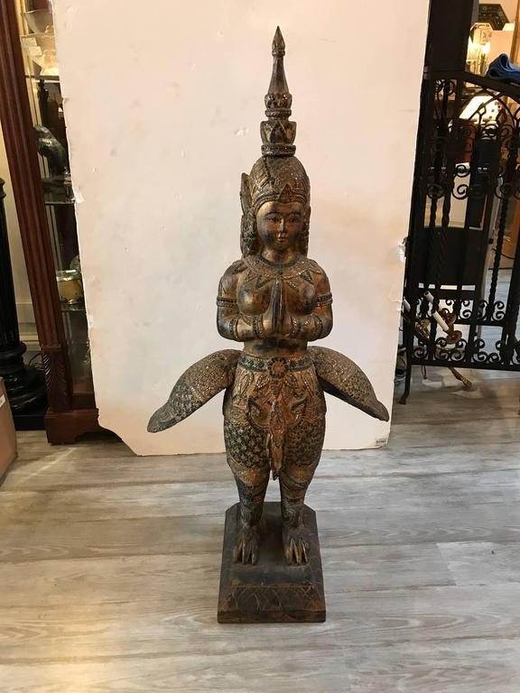 Large Antique Thai Statue Wood Carving Goddess For Sale At