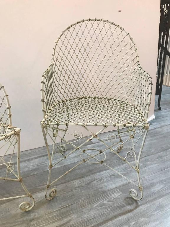 Pair Of French Painted Wire Tub Back Chairs At 1stdibs
