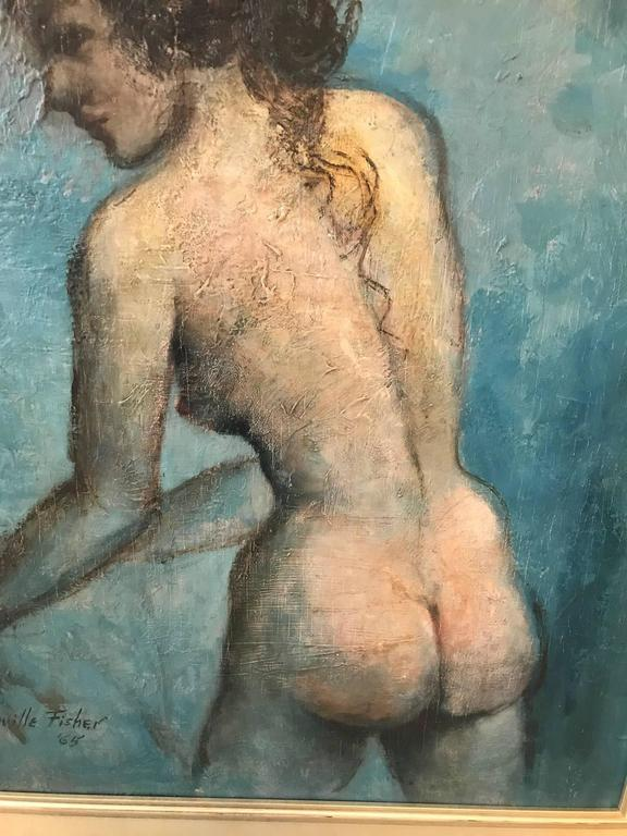 Oil painting on board of a standing female nude in profile. Impressionist style, artist signed and dated 1965 in a later silver giltwood frame.