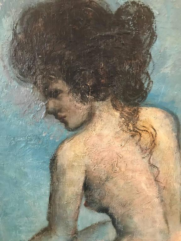 Mid-Century Modern Mid-20th Century Oil Painting on Board Nude For Sale