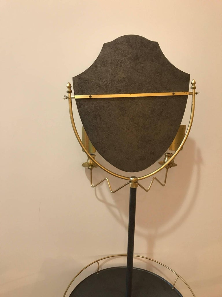 Brass And Galvanized Metal Standing Shaving Stand For Sale