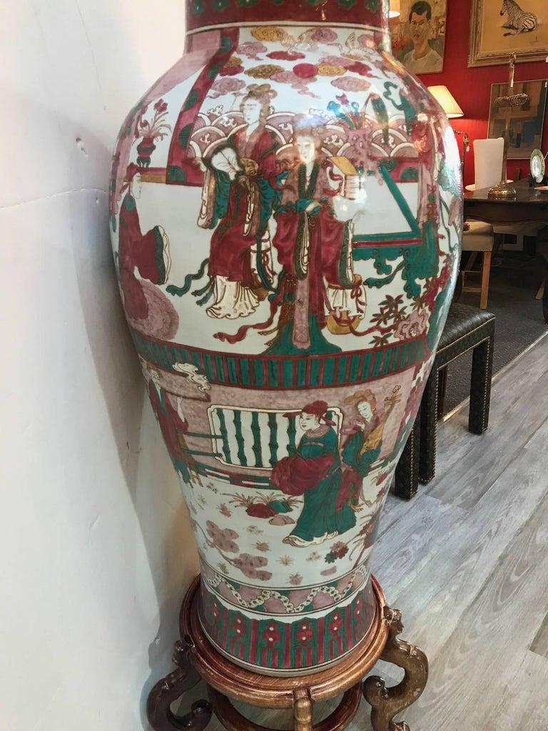 Large Chinese Porcelain Palace Sized Temple Jar Vase At