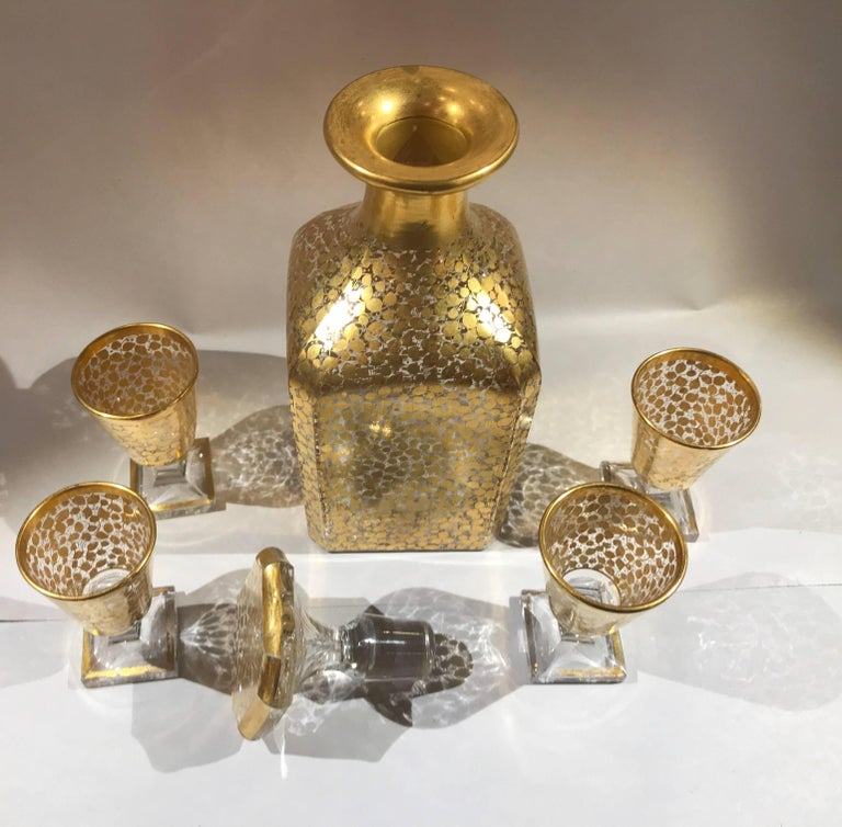 French Baccarat Hand Gilt Decanter with Glasses For Sale
