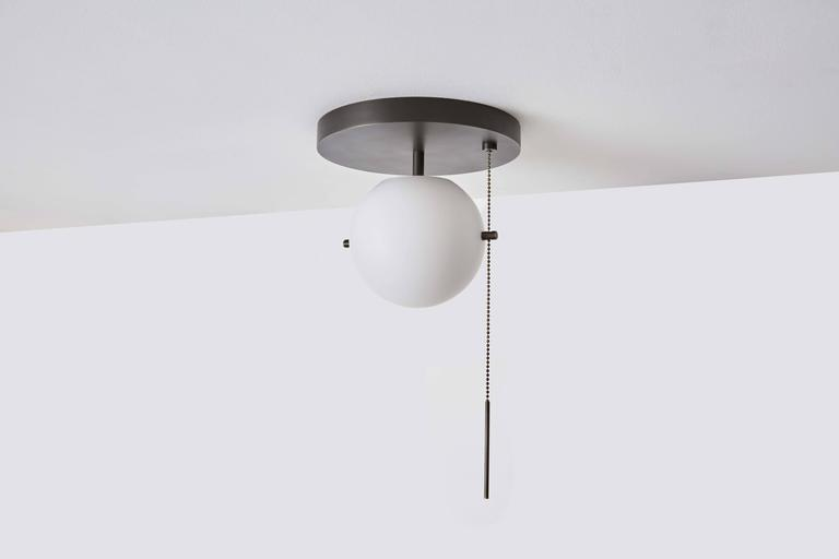 Workstead Signal Flush Mount In Bronze With Blown Glass Globe And Pull Chain For Sale At 1stdibs