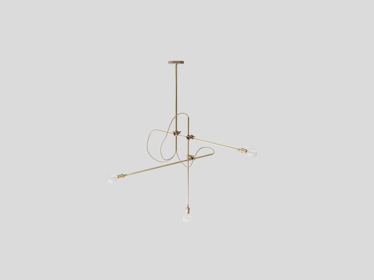 workstead brass chandelier with three arms and adjustable cast brass clamps 2 - Brass Chandelier