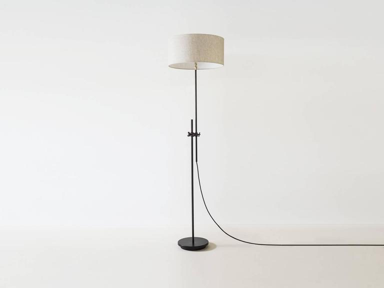 Workstead shaded floor lamp in black with adjustable stem and linen industrial workstead shaded floor lamp in black with adjustable stem and linen shade for sale aloadofball Image collections