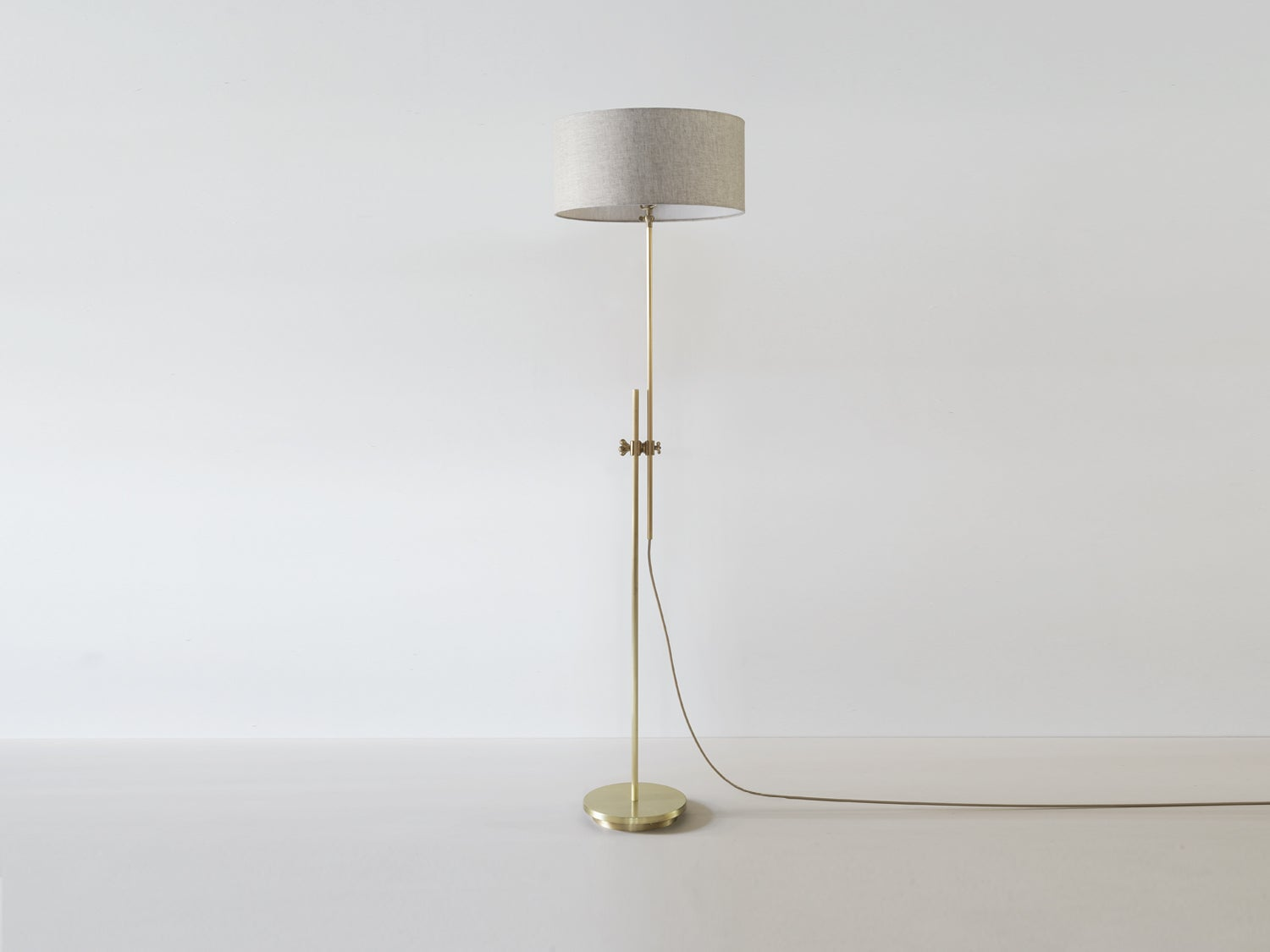 Workstead Shaded Floor Lamp in Brass with Adjustable Stem and Linen ...