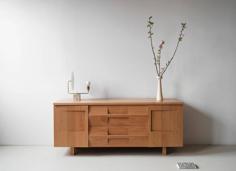 Workstead Credenza in Beech with Articulated Solidwood Faceted Drawers 2