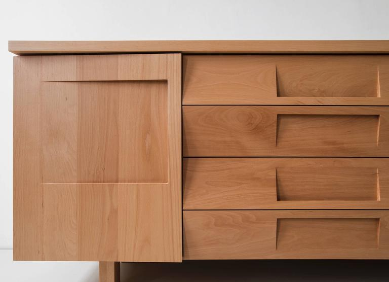 Workstead Credenza in Beech with Articulated Solidwood Faceted Drawers 7