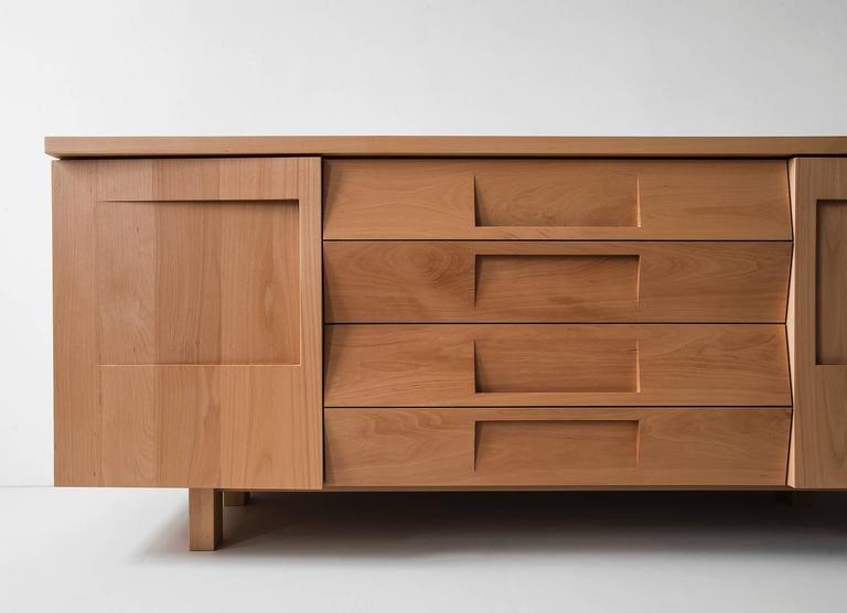 Workstead Credenza in Beech with Articulated Solidwood Faceted Drawers 6
