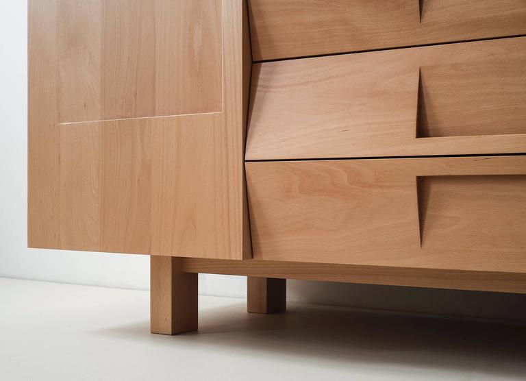 Workstead Credenza in Beech with Articulated Solidwood Faceted Drawers 3