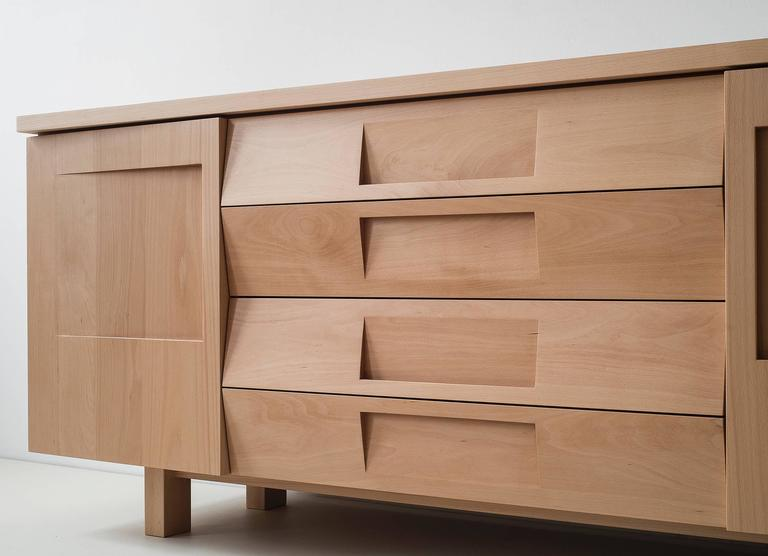 Workstead Credenza in Beech with Articulated Solidwood Faceted Drawers 5