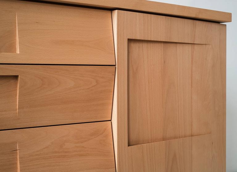 Workstead Credenza in Beech with Articulated Solidwood Faceted Drawers 8