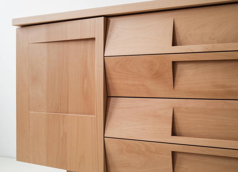 Workstead Credenza in Beech with Articulated Solidwood Faceted Drawers 4