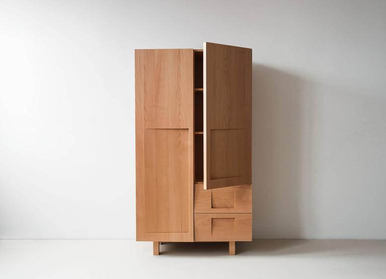 Workstead Wardrobe In Beech With Solid Wood Faceted Doors