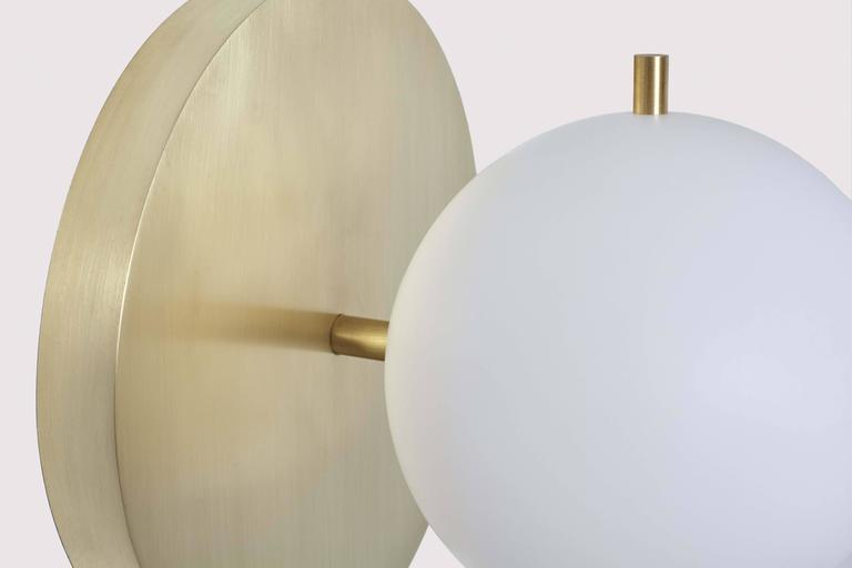 Brushed Workstead Signal Sconce in Brass with Blown Glass Globe and Brass Pull Chain For Sale