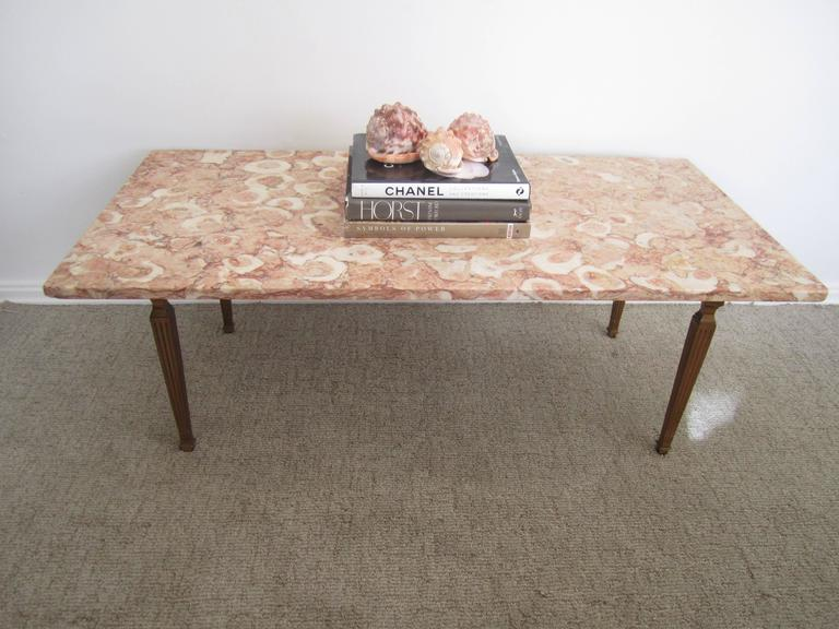 A Beautiful And Substantial Mid Century Rectangular Italian Marble Top Coffee Or Tail Table Made