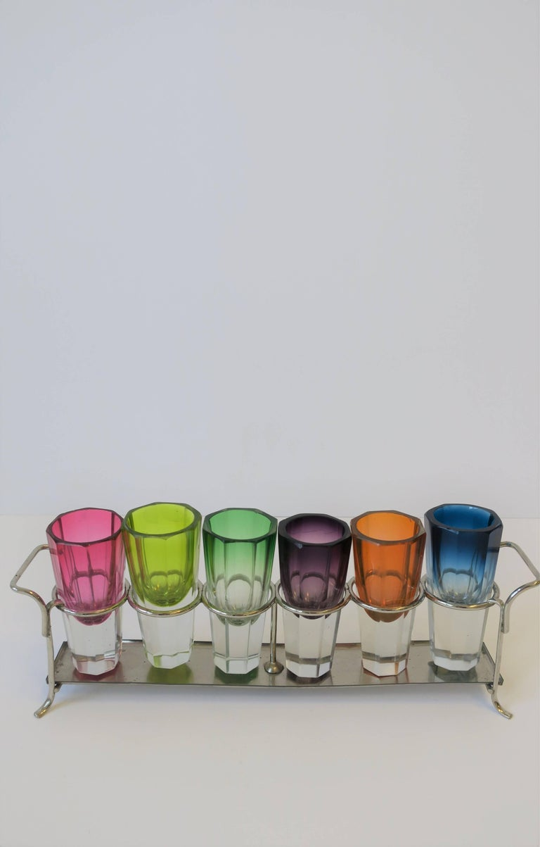 Czech Bohemian Crystal Shot Glasses after Moser For Sale