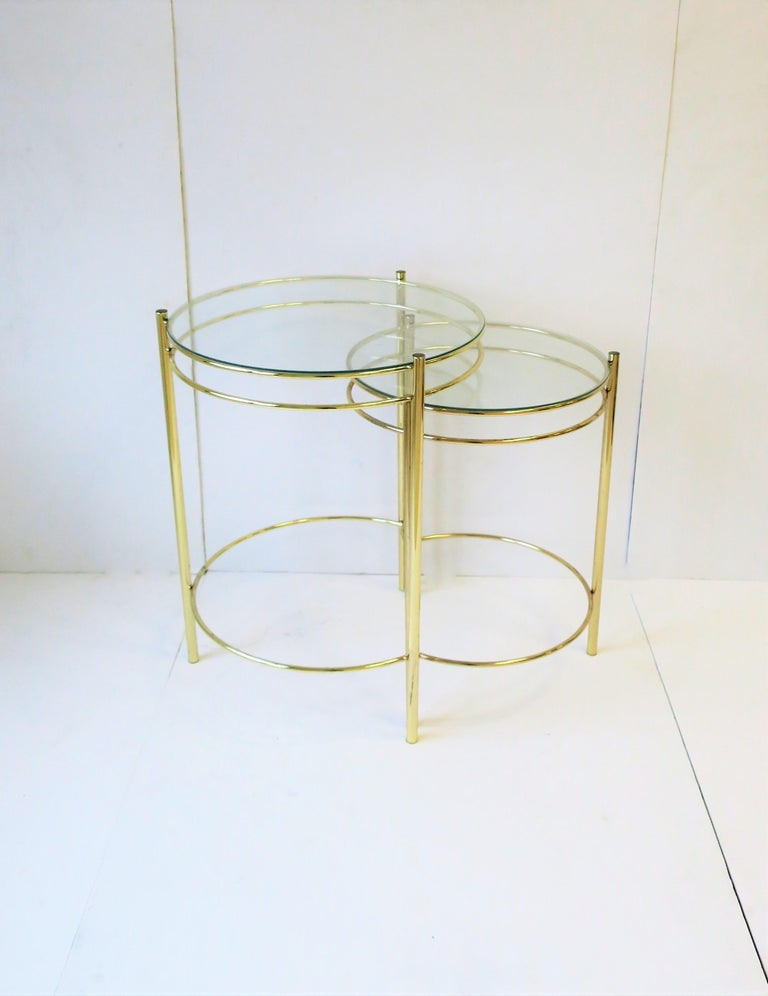 Plated Set Round Brass and Glass Nesting End or Side Tables For Sale
