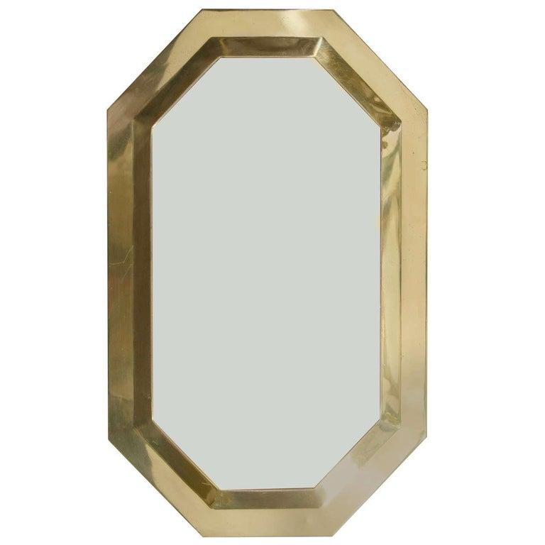 Vintage Brass Framed Octagonal Wall Mirror, 1970s
