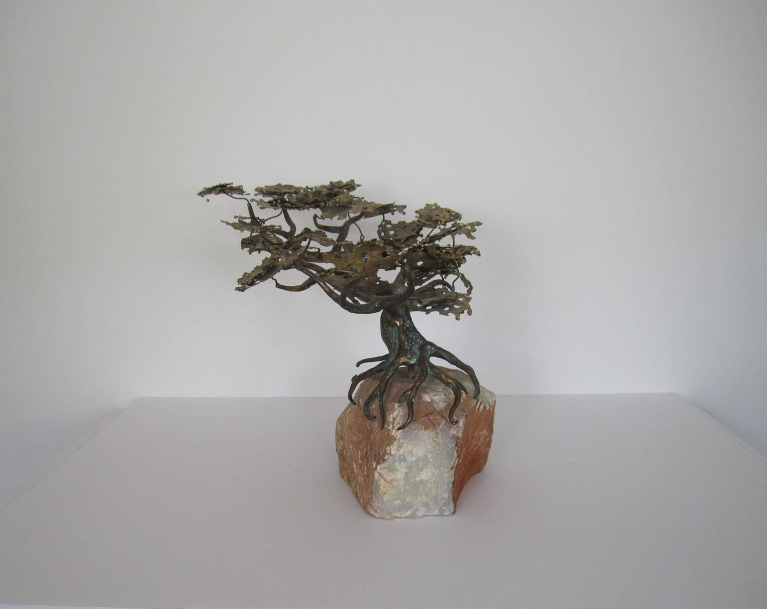 Brass and Onyx Marble Japanese Bonsai Tree Sculpture at 1stdibs