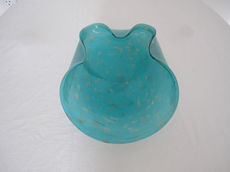 Mid-20th Century Italian Murano Art Glass Bowl in Turquoise Blue For Sale