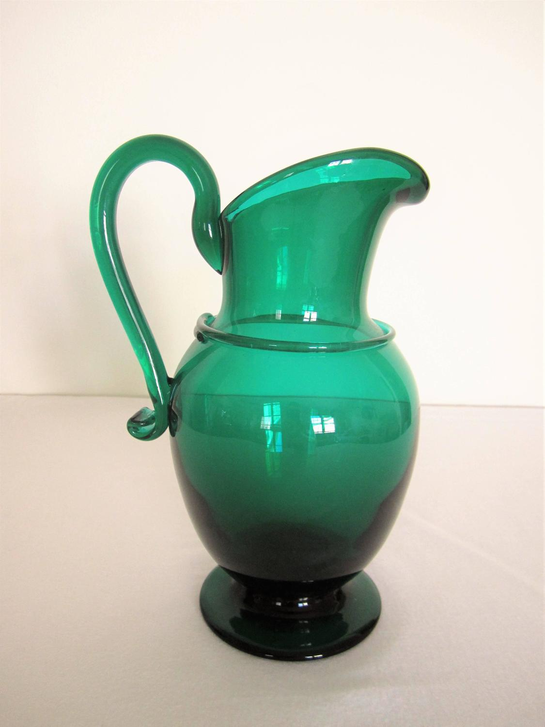 Emerald Green Art Glass Pitcher Or Vase For Sale At 1stdibs