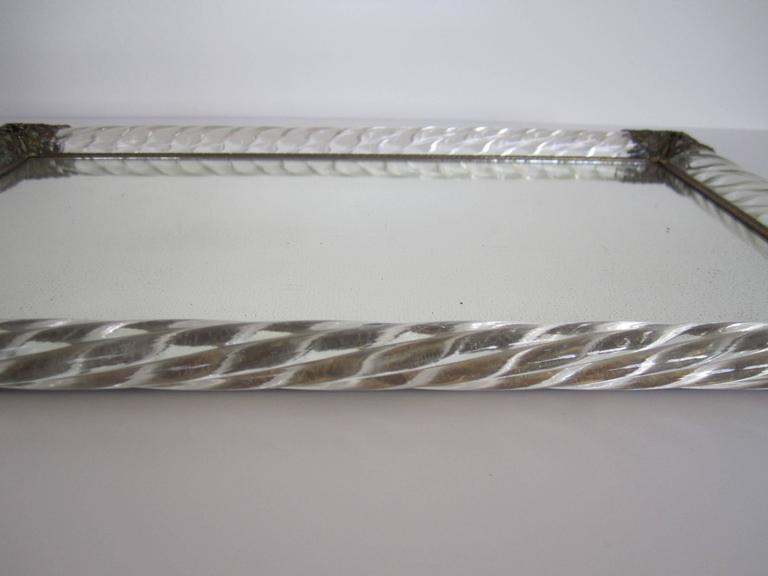 Midcentury Italian Murano Art Glass and Mirror Vantiy Tray  For Sale 5