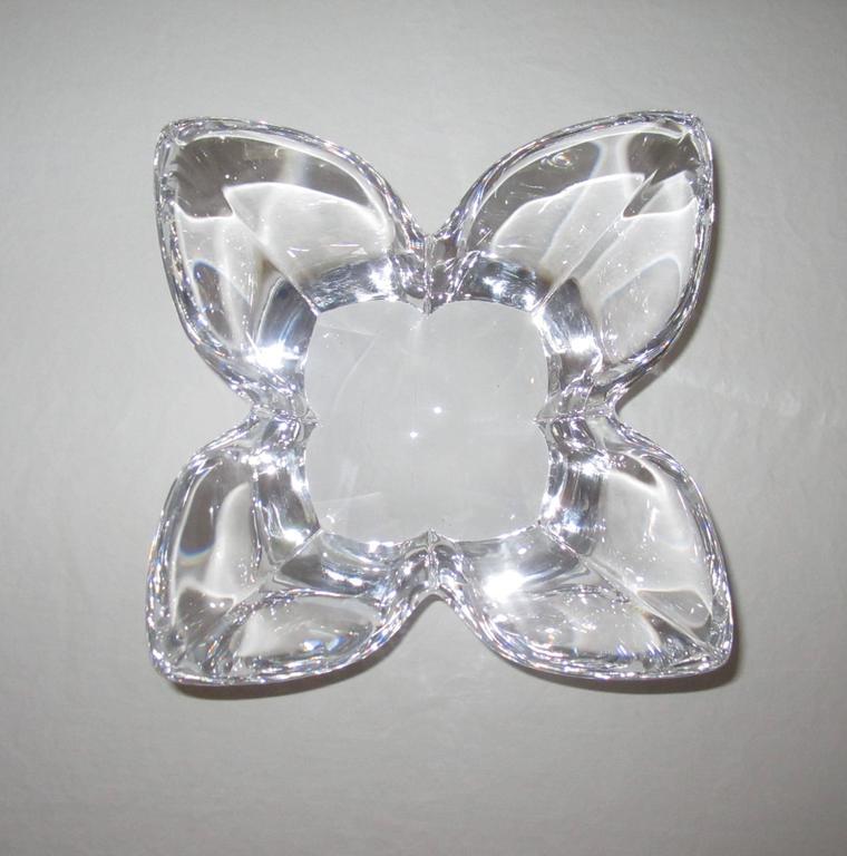 Swedish Scandinavian Modern Crystal Lotus Bowl by Designer Lars Hellsten For Sale