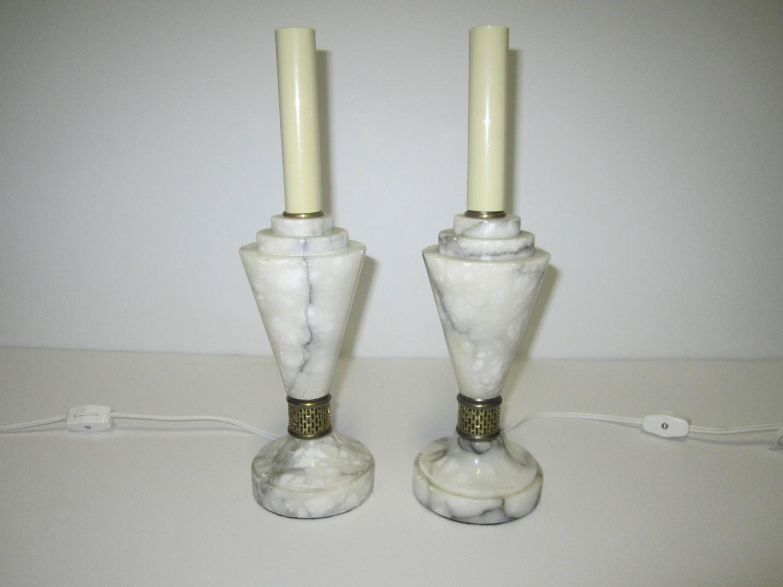 Vintage Modern Art Deco Solid White Carrara Marble Table