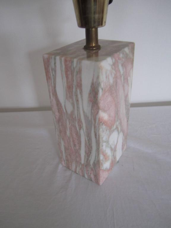 Postmodern Pink and White Marble Desk or Table Lamp, ca. 1970s For Sale 2