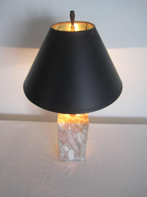 American Postmodern Pink and White Marble Desk or Table Lamp, ca. 1970s For Sale