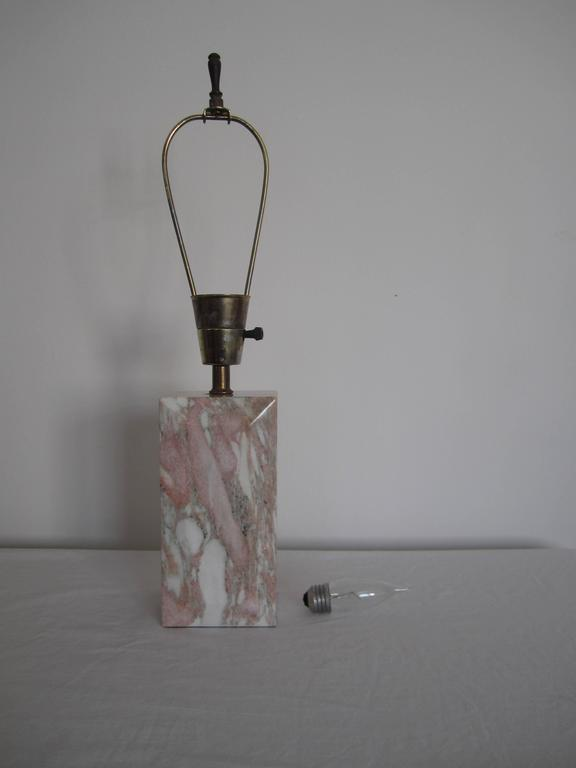 Postmodern Pink and White Marble Desk or Table Lamp, ca. 1970s In Good Condition For Sale In New York, NY