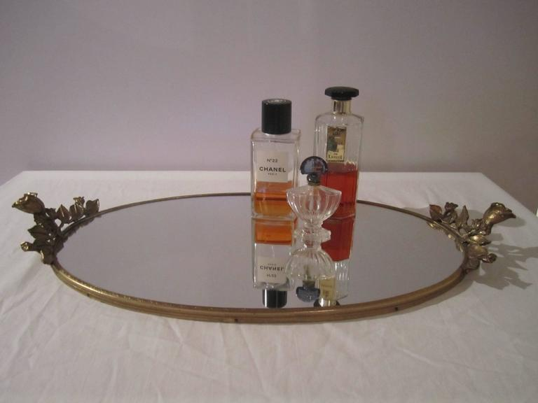 Brass and Mirror Vanity Tray, ca. 1960s In Good Condition For Sale In New York, NY