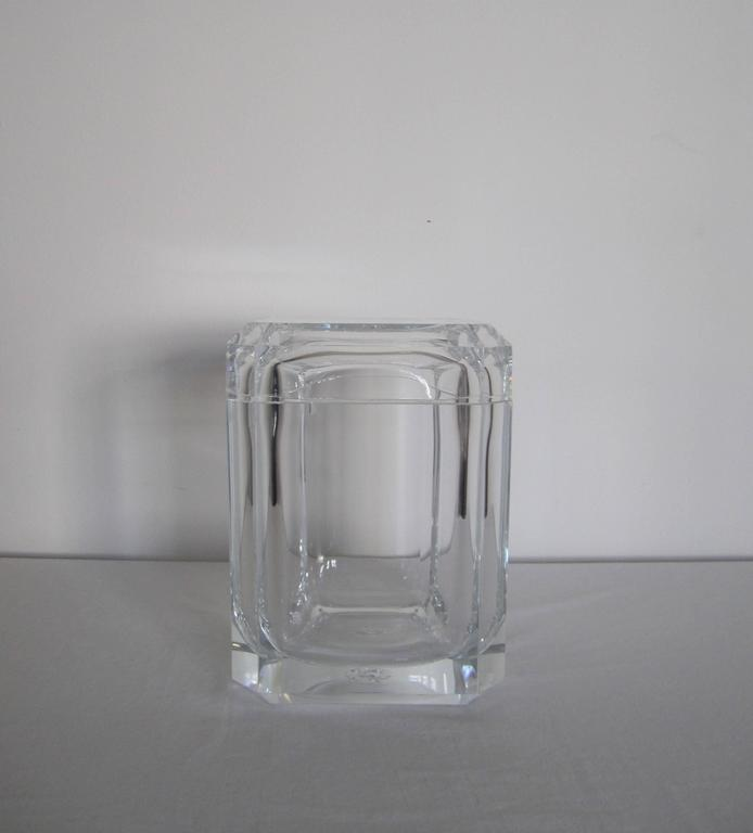 A Vintage Lucite Modern Style Ice Bucket Or Lucite Box With A Swivel Top.  This