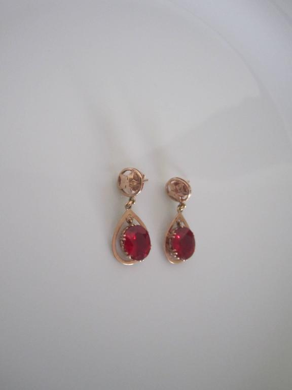 Mid 20th Century Vintage 14 Karat Pink Gold Earrings With Red Ruby Style Stones