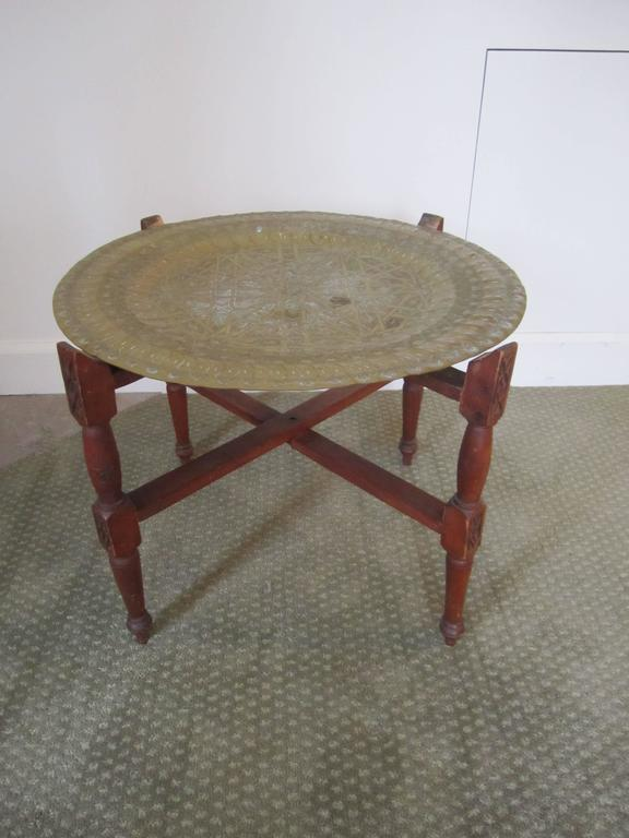 Vintage Moroccan Brass Tray Cocktail Table At 1stdibs