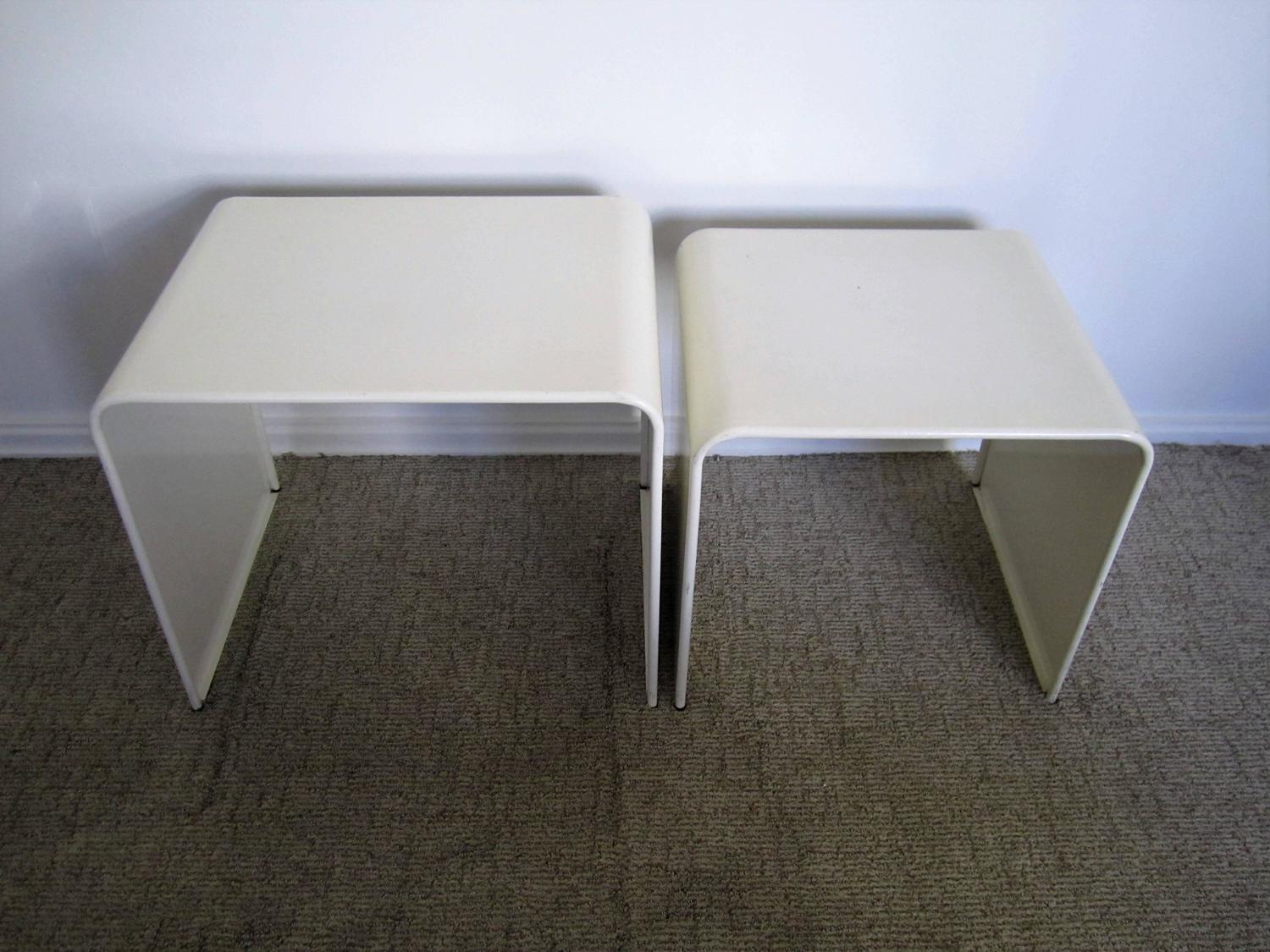 Vintage Modern White Enameled Nesting End Or Side Tables At 1stdibs. Full resolution  image, nominally Width 1500 Height 1125 pixels, image with #495982.