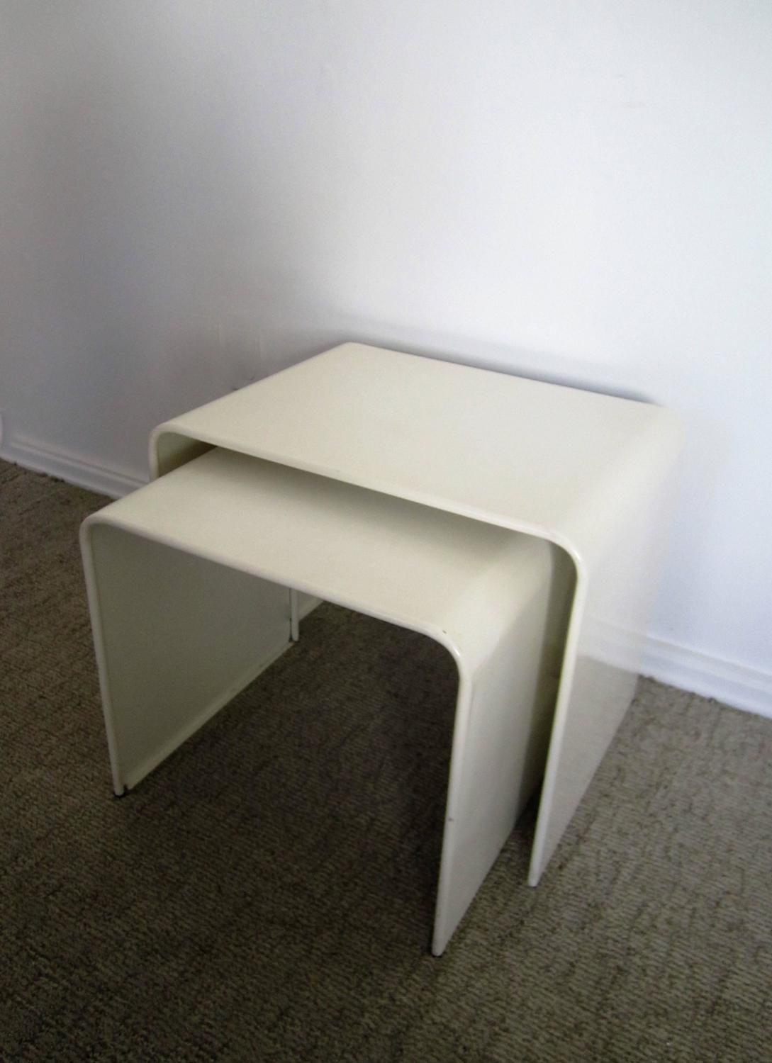 Vintage Modern White Enameled Nesting End Or Side Tables At 1stdibs. Full resolution‎  image, nominally Width 1089 Height 1500 pixels, image with #302C20.