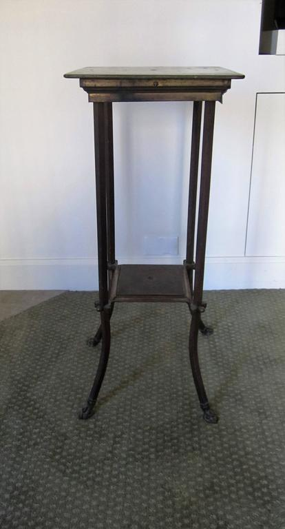 Antique Bronze Pedestal Table With Shelf And Decorative