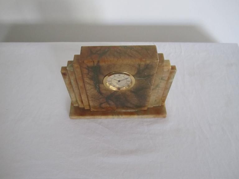 Designer Italian Alabaster Marble Art Deco Modern Mantel Clock by Oggetti For Sale 5